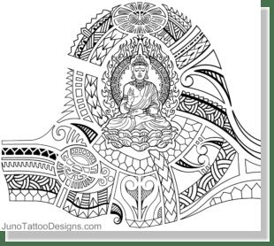 samoan tibetan buddhist tattoo template