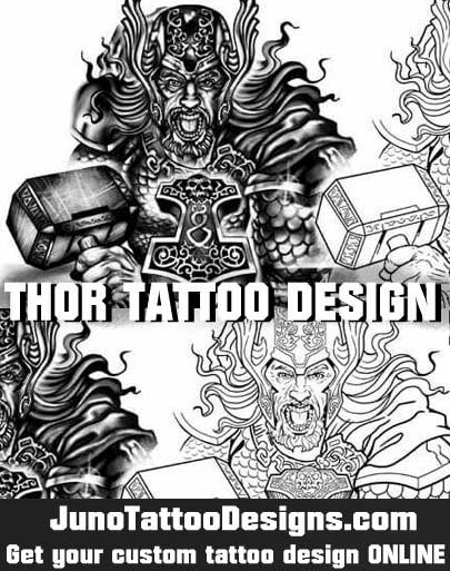 thor tattoo, hammer of thor tattoo, norse mythology tattoo, tattoo stencil, juno tattoo designs