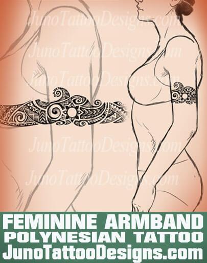 polynesian armband tattoo, feminine tattoo, girl tattoo, girly tattoo, junotattoodesigns