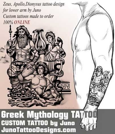 Zeus Apollo Dionysus tattoo, juno tattoo designs