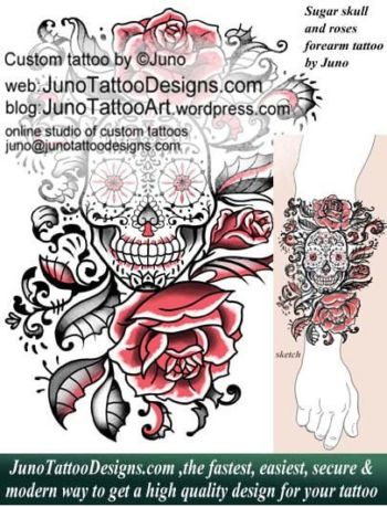sugar skull and roses tattoo, forearm tattoo, juno tattoo designs