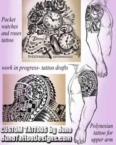 pocketwatches roses tattoo, polynesian tattoo, juno tattoo designs