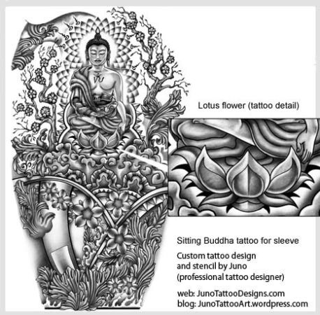 lotus flower tattoo_ full arm buddhist style