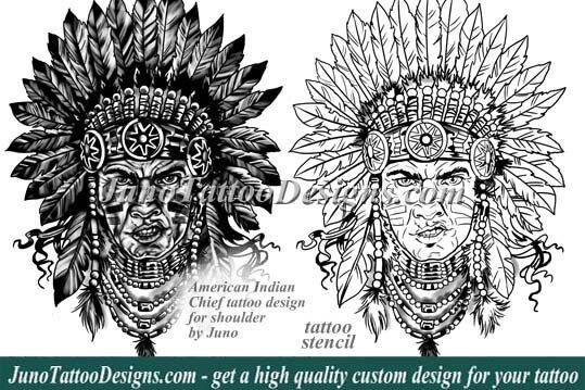 american indian tattoo, indian chief tattoo, tattoo design, tattoo stencil, junotattoodesigns