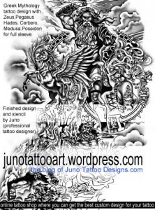 Greek Mythology tattoo Poseidon Zeus Hades Pegaso Cerbero Medusa by Juno