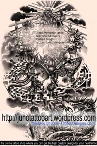 Greek Mythology tattoo full sleeve by Juno