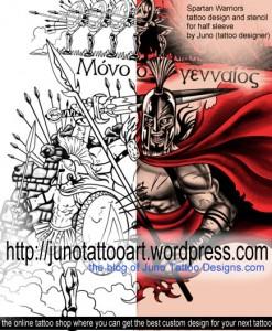 spartan warriors tattoo by JunoTattooDesigns