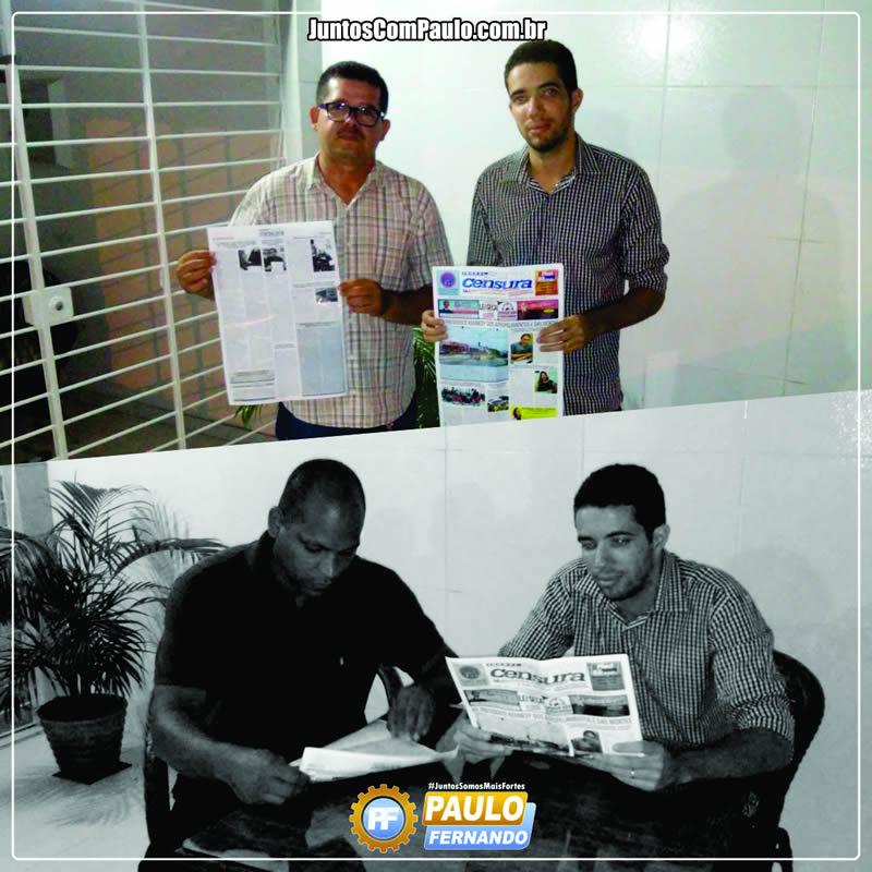 Paulo Fernando agradece o apoio do Jornal Sem Censura