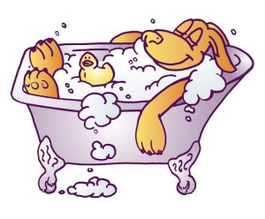 dog taking a relaxing bath