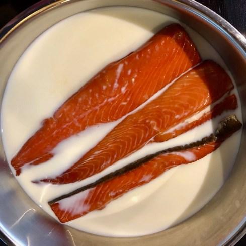 Bellies simmering in milk