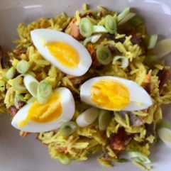 Top kedgeree with eggs