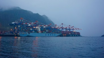 Round the clock freighters are loaded in Prince Rupert bound for Asia