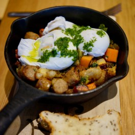 Breakfast Skillet: Two Rivers turkey sausage hash with roasted vegetables, free-range eggs and watercress pesto