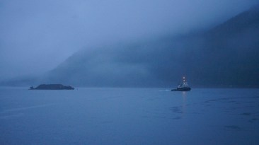 A tug and coal barge appear from the morning gloaming in the Grenville Channel