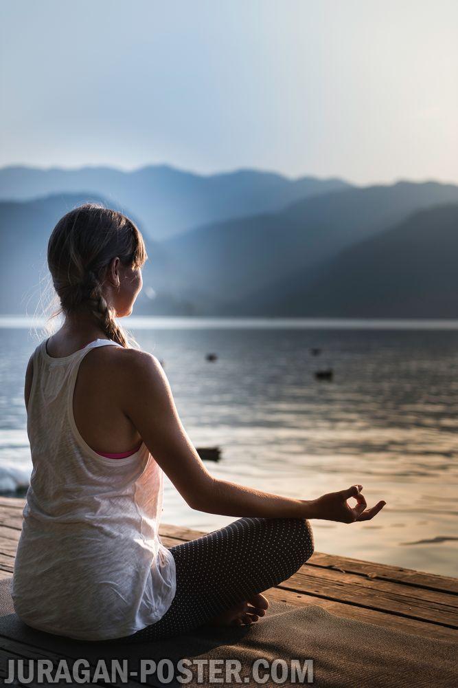 Woman Doing Yoga By The Lake Jual Poster Di Juragan Poster