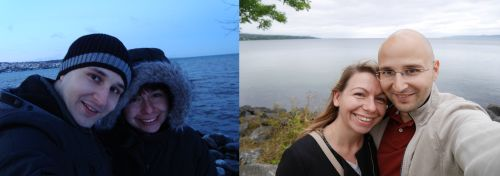 Aneta and me in Jönköping in December 2009 and July 2017
