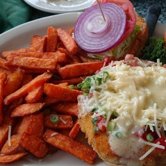 Conch (a local oyster) sandwich with sweet potato fries
