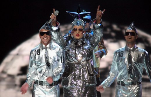 """HELSINKI, FINLAND - MAY 12: Verka Serduchka performs her song """"Dancing Lasha Tumbai Danzing"""" at the finals of the 2007 Eurovision Song Contest on May 12, 2007, in Helsinki, Finland. (Photo by Johannes Simon/Getty Images)"""