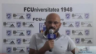 Fotbal : Adrian Mititelu a prefatat meciul de maine de la Severin dintre FC U Craiova si Atletic Bradu 1