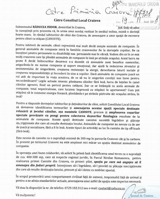 Isidor Raducea a depus la Primaria Craiova o cerere prin care ii anunta ca intentioneza sa amenajeze prima canisita din oras  din fonduri proprii 2