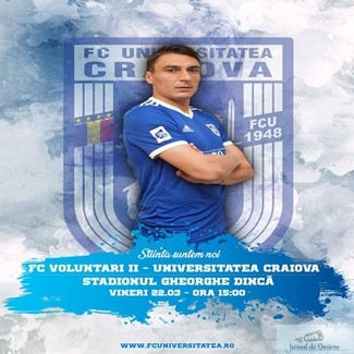 Fotbal : Universitatea Craiova are meci maine la Voluntari! 1