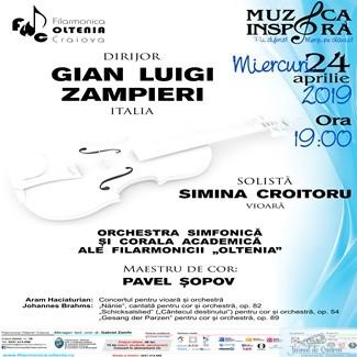 Filarmonica Oltenia Craiova : Concert Haciaturian cu violonista Simina Croitoru si maestrul Gian Luigi Zampieri la pupitrul dirijoral