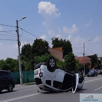 Accident spectaculos pe strada Caracal