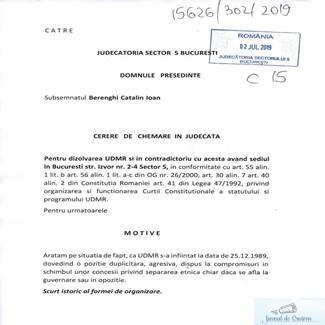 S-a inregistrat o cerere pentru desfiintarea UDMR