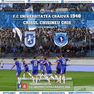 Fotbal : Un meci pentru istorie si traditie , Universitatea Craiova - CS Crisul Chisineu Cris !