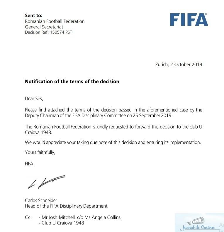 Fotbal : FIFA recunoaste FC UNIVERSITATEA CRAIOVA 1948, din Liga III a, drept continuatoarea Universitatii Craiova !!! 1
