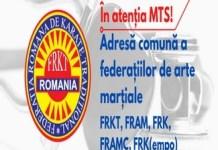 Adresa comuna a Federatiilor de Arte Martiale: FRKT, FRAM, FRK, FRAMC, FRKempo catre Ionut Stroe, Ministrul Tineretului si Sportului ..