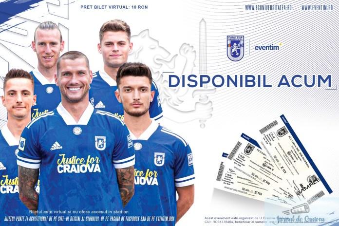 Fotbal : Universitatea Craiova a pus in vanzare bilete virtuale la partida cu Gloria Buzău 1