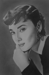 Audrey Hepburn, 2017 Pencil on paper 30x40 cm
