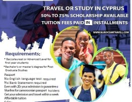 Flier showing students studying in cyprus.
