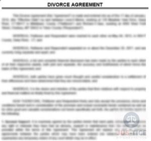 דוגמא להסכם גירושין