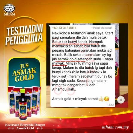 Testimoni Jus Asmak Gold 3