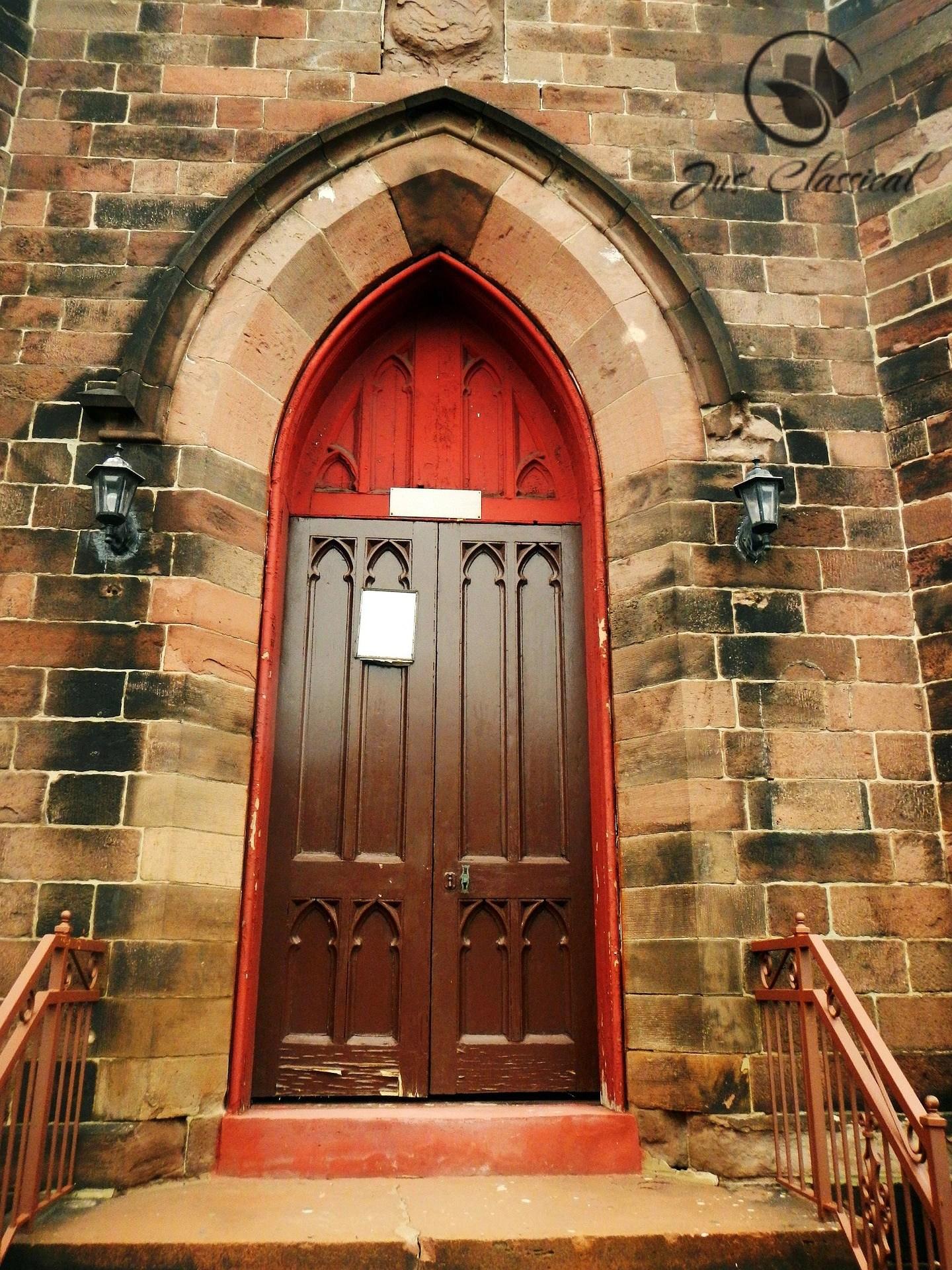 image of a church door.
