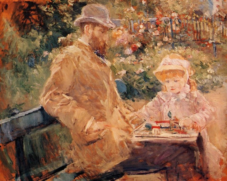 Eugene Manet with His Daughter at Bougival by Berthe Morisot