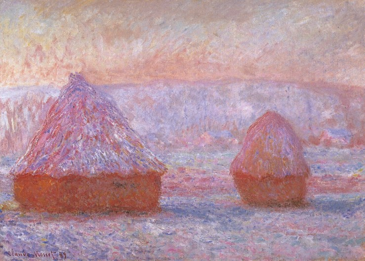 Grainstacks at Giverny Morning Effect by Claude Monet