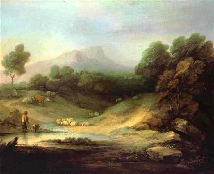 Mountain Landscape with Shepherd by Thomas Gainsborough