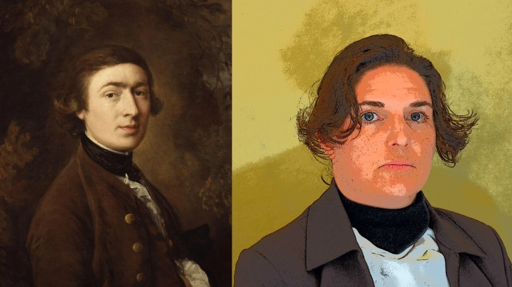 Image of Thomas Gainsborough self-portrait next to actor portraying Gainsborough