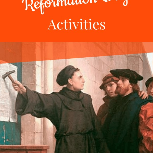painting of Martin Luther nailing the 95 Theses to the church door in Wittenberg with the title Reformation Day Activities to advertise the book.
