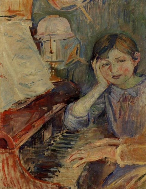 Painting by Berthe Morisot called Julie Listening of hands playing the piano while a young girl, who is sitting next to the player, leans on a piano and listens.