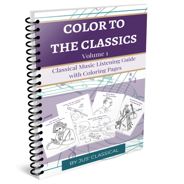 Image of spiral bound cover of book with a dark purple bar across the top and the words Color to the Classics. Below in light purple are the words Classical music listening guide with coloring pages. Below this is a light purple background with five pages of black and white images of the composer Beethoven, trombones, a scene of sheep and a shepherd lying by a river, the composer Stravinsky and violins.