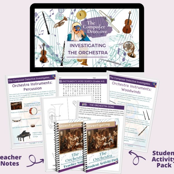 Image of mockup of Investigating the Orchestra products. At the top is a computer screen with an image of composers and instruments and the words The Composer Detective - Investigating the Orchestra. Below are pages and two spiral bound covers, one with an arrow and words that say Teacher Notes and one with an arrow and the words Student Activity Pack.