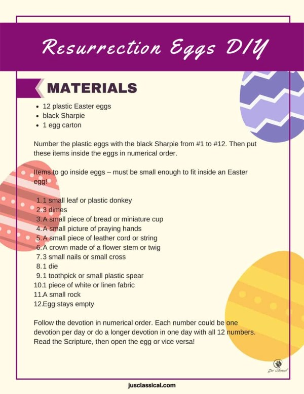 """Image of words on a page with purple rectangle across the top with the words in white, """"Resurrection Eggs DIY"""". There are also a purple striped Easter egg and yellow striped Easter egg on the right side of the page and a pink striped Easter egg on the left side of the page."""