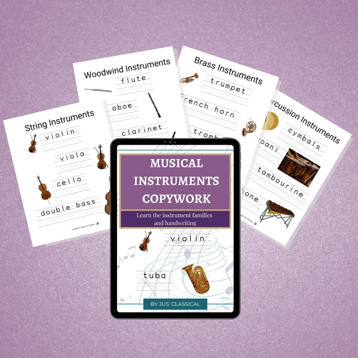 Image of electronic tablet with image of an ebook cover with a purple rectangle and words in white Musical Instruments Copywork and a smaller dark purple rectangle with the words Learn the instrument families and handwriting. Below are the pictures of a violin and tuba with handwriting practice lines next to them. Behind it are images of four pages from the guide. The background is light purple.