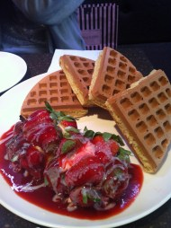 Fresh Strawberry Waffle; Coffee Alley
