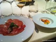 30-month Culatello di Zibello Ham on Thin-sliced Green Apple, and Fried Shrimp; 8 ½ Otto e Mezzo BOMBANA