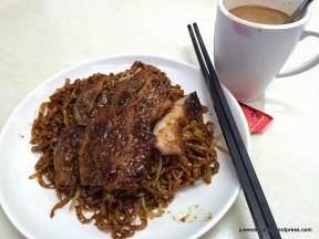 Noodle with Singapore Dark Soya Sauce with Barbecued Pork Neck Meat (HK$35); Singapore and Malaysia Canteen
